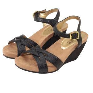 Chaps Reine Vegan Leather Navy Blue Wedge Sandals